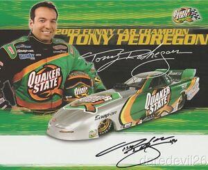 2004 Tony Pedregon signed Quaker State Chevy Monte Carlo Funny Car NHRA postcard