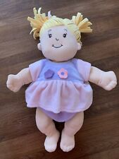 """Manhattan Baby Stella Doll Blonde Pigtails Purple/Pink Dress 14"""" Nurturing"""