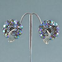 Vintage Earrings LISNER 1950s Blue Aurora Borealis Crystal Silvertone Jewellery