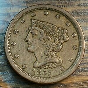 1851 Half Cent Nice Light Brown XF Below Greysheet CHN