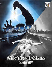 Adult Coloring Book (24 pages) Giallo Vintage Horror Movie FLONZ GrayScale 107