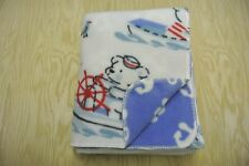 Sailors Boats Anchors Bears Baby Blanket Can Personalize Double Sided 28x44