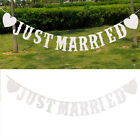 JUST MARRIED Western Wedding Banners Party Decorations Bunting Garland New