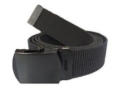 Officer Webbing Black Belt 132cm Cotton with Sliding Post Drum Buckle Army Style