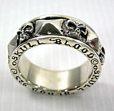 SKULL BLOOD SOLID 925 STERLING SILVER MENS SPINNER SPINNING RING BIKER GOTHIC