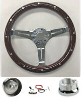 "Dark Wood Steering Wheel on Chrome for Ididit Flaming River Column 15"" Plain Cap"
