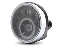 "LED Motorbike 7"" Headlight - Black 12V Retro Cafe Racer & Streetfighter Project"