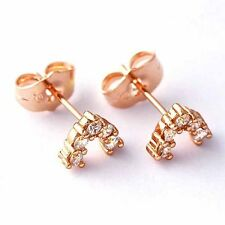 Fashion Womens V Shape jewelry Stud Earrings Rose Gold Filled free shipping