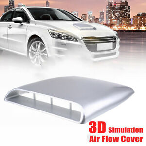 Universal Car Truck Air Flow Intake Scoop Turbo Bonnet Vent Cover Hood Silver