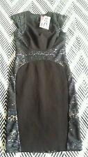 CUE AUSTRALIA Black Lace Print Lined Dress Work Office Size 6 BNWT rrp  $229