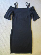 WOMENS H&M BLACK OFF THE SHOULDER FITTED STRETCH SUPER SEXY DRESS XSMALL NWT