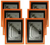 Studio 500 5 by 7-inch Sleek Orange w/Silver Picture Frames, 6 pieces