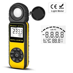 Light Meter LCD Lux Illuminometer Luminometer 400,000Lux Temp Detector Handheld