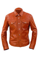 Infinity Mens Retro Style Slim Fit Casual Burgundy Leather Shirt Jeans Jacket