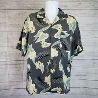 Tommy Bahama Mens Shirt Sz Medium Gray Yellow Floral Silk Short Sleeve