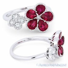 2.23 ct Pear-Shape Red Ruby Round Diamond 18k White Gold Right-Hand Flower Ring