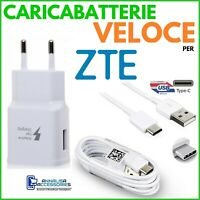 CARICABATTERIE VELOCE FAST per ZTE MAX XL PRESA USB + CAVO TIPO TYPE C