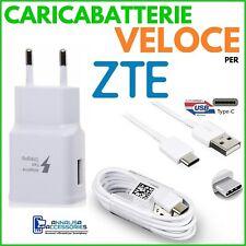 CARICABATTERIE VELOCE FAST per ZTE AXON 7 MINI PRESA USB + CAVO TIPO TYPE C