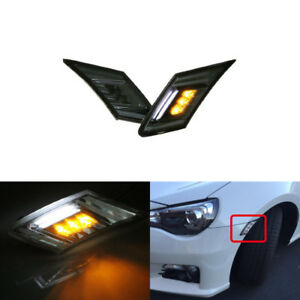 2x Smoked Led Amber Side Marker Lights White Parking DRL For Subaru BRZ FR-S 86