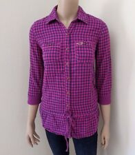 Hollister Womens Plaid Shirt Size XS Tunic Top Blouse Hot Pink & Navy Blue