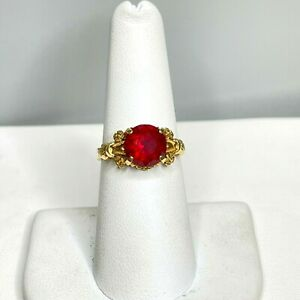 Antique Art Deco 14k Yellow Gold Faceted Ruby Ring