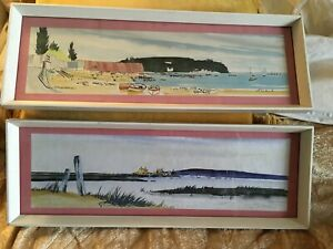 Vintage Framed Pair Of Picture Drawing Watercolour SANDBANKS &MUDEFORD BY JRUARK