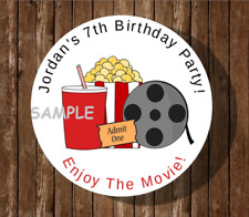 12 Movie Night Birthday Party Stickers,labels,favors,po pcorn,supplies,tags