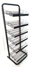 Adjustable metal display rack 6 wire tiers or 6 rows of pegs.