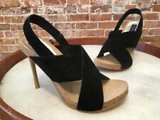 Steve Madden Calvin Black Suede Slingback High Heel Sandals New