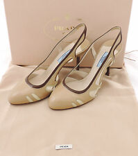 Prada Pumps 37 Sandalette beige Lackleder neu im Originalkarton sandals new
