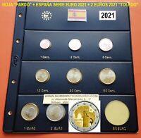 2021 ESPAÑA MONEDAS EURO + HOJA PARDO 1+2+5+10+20+50 Cts. 1€ 2€ + 2 EUROS TOLEDO