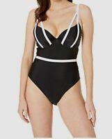 $199 Bluebella Swim Women Black Mawson Underwire One Piece Swimsuit Size 32DDD