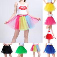 Adult Women 3 Layer Tulle Fancy Ballet Dress Petticoat Dance Neon Tutu Skirts US