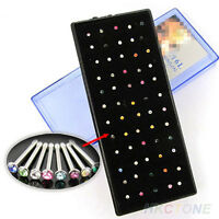 60Pcs Surgical Steel Rhinestone Round Nose Ring Bone Stud Body Piercing Jewelry