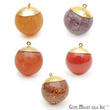 Ball Pendant Connector Single Bail Stone Gold Electroplated Gemstone Round Charm