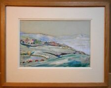 Lyme Regis, Dorset. Watercolour by listed artist Sir William Rothenstein. 1909