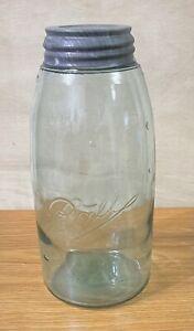 Antique Script BALL Aqua 1/2 Half Gallon Canning Jar Zinc Lid #4