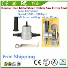 New Metal Cutting 360°Double Head Sheet Nibbler Saw Cutter Drill Tool Bit QW