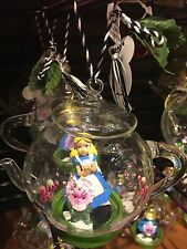 Disney Parks Christmas Glass Ornament Alice in Wonderland Teapot New w Tags