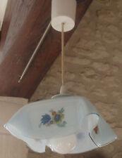 SUSPENSION PLAFONNIER , OPALINE MOUCHOIR, opaline bleue pastel décor de fleurs
