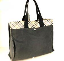 100% Authentic Burberry Nova Check Black Denim Unisex Medium Business Hand Bag