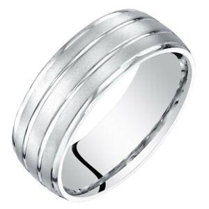 Men's 14k White Gold Wedding Ring, 7mm, Satin Finish, Comfort Fit Sizes 8 to 14