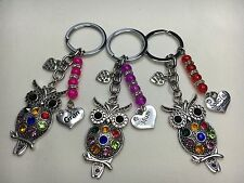Personalised Wise Owl Keyring Bag Charm Gift choose Special Nan, Sister Nana etc