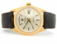 Mens Rolex Day-Date President Solid 18K Yellow Gold Watch Silver Brown Band 1803