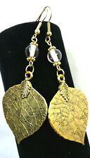 Earrings Antique Gold Leaves Glass Bead Long Leaf Drop Hook Jewelry