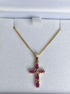 14K Ruby & Diamond Cross Necklace