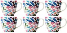 Set of 6 Extra Large Oversized Bone China Mugs Coffee / Soup Mugs Floral Bloom
