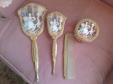 Jeweled Victorian Vanity dresser set, mirror, brush, trinket box, comb