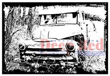 Deep Red Rubber Cling Stamp - Abandoned Old Vintage Truck Image