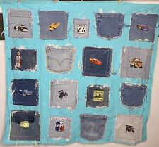Handmade Disney Cars Old Town Route flannel denim pocket patch blanket Decor